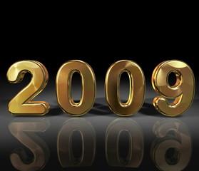 3D Jahreszahl 2009, Gold