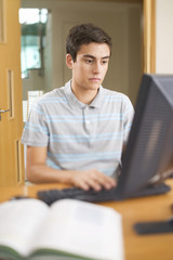 A teenage boy using a computer
