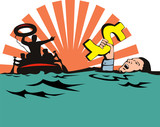 Man sinking in debt poster