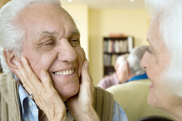 An elderly couple in a retirement home