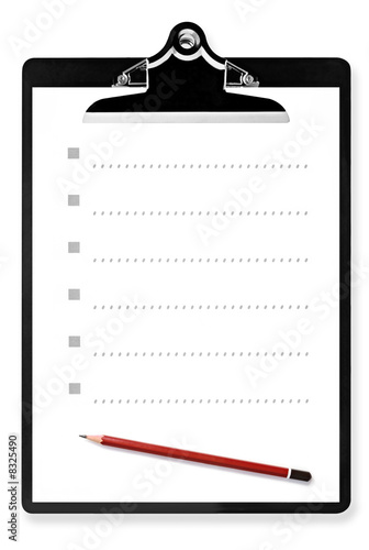 List on Clipboard with Pencil