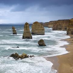 Rock formations in ocean.