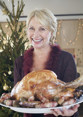 A grandmother with the Christmas turkey