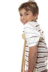 Child using crutches