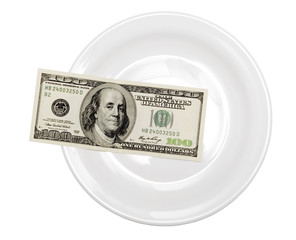 one hundred dollar in plate