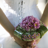 A bride holding a bouquet