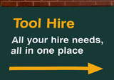 tool hire sign poster