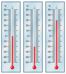 Thermometer. Set. Vector illustration.