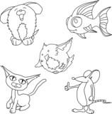 Pet cartoon line art poster