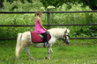 Young girl in pink riding pony