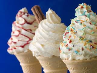 Whipped Ice Cream Cones with Three Different Toppings
