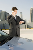 A businessman talking on a mobile phone