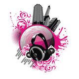 Fototapety vector music city illustration