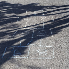 Hopscotch game chalked on the playground