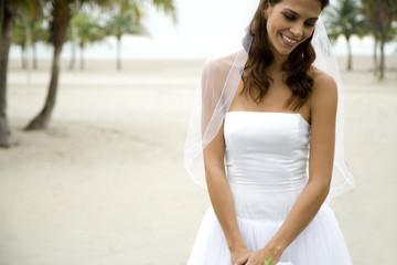 A bride standing on a beach
