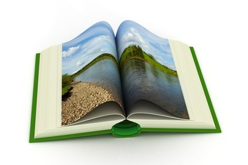 open book with a landscape. 3D image.