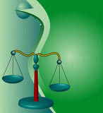 Abstract illustration with scales of justice poster