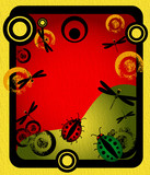 Colored background with circles, ladybirds and dragonflies poster
