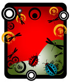 Abstract frame with circles, ladybirds and dragonflies poster