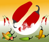 Spicy colored hot peppers poster