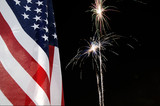 United States flag with fireworks in the background poster