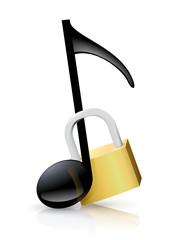 Note de musique verrouillé (reflet)