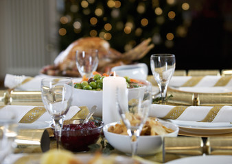Christmas dinner on the table