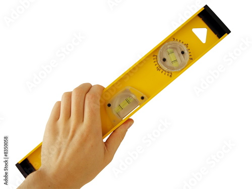 spirit-level at human hand