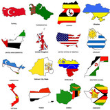 world flag map sketches collection 13 poster
