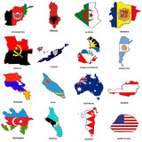 world flag map sketches collection 01 poster