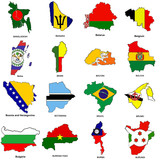 world flag map sketches collection 02 poster