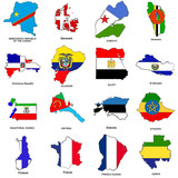 world flag map sketches collection 04 poster