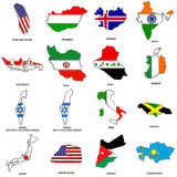 world flag map sketches collection 06 poster