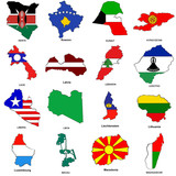 world flag map sketches collection 07 poster