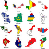 world flag map sketches collection 08 poster