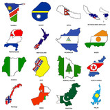 world flag map sketches collection 09 poster