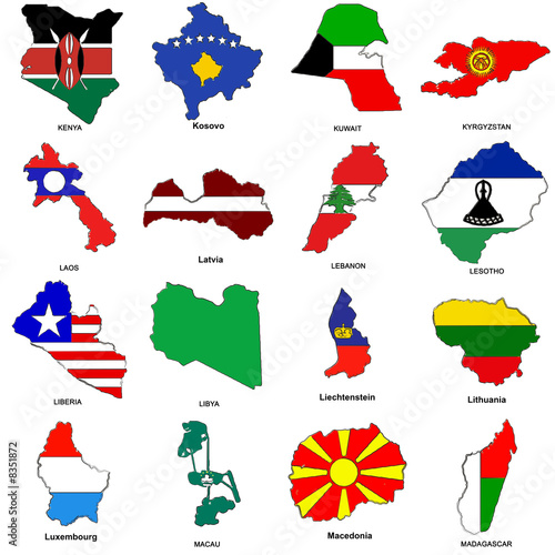 world flag map sketches collection 07