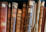Row of old  books cover spines poster