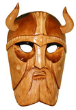 Isolated wooden hadmade mask of viking poster