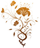 Flower cutout background with butterfly, vector illustration poster