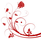 Flower cutout background with rose, design, vector poster