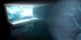 Blue GLow Hologram Laptop poster