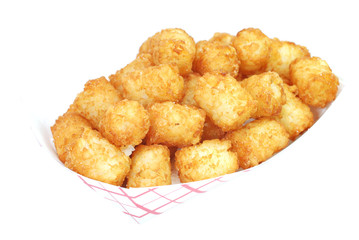 Fried tater tots in basket.  Isolated on white background.