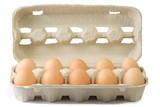 Braune Eier im Pappkarton poster