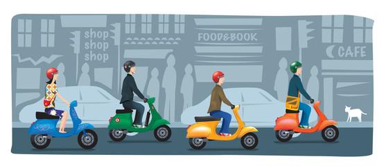 bande de scooters en ville
