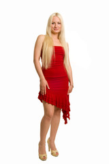 Long-haired blonde dressed up in red