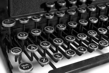 black and white keyboard typewriter