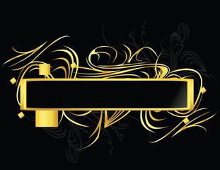 Gold black element banner
