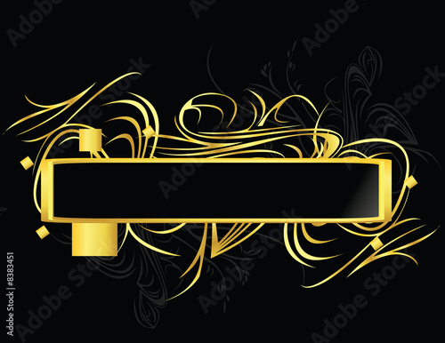 Gold black element banner