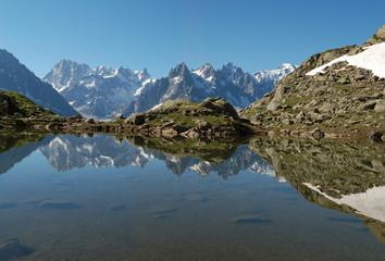 reflet massif du mont blanc